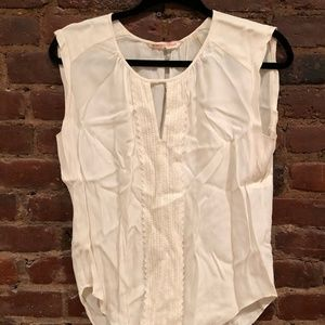 Rebecca Taylor White Blouse Size 0 with Lace Trim